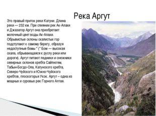 Река Аргут Это правый приток реки Катуни. Длина реки — 232 км. При слиянии ре