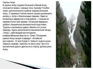 Ущелье Актру В ущелье Актру ледники Большой и Малый Актру спускаются прямо к