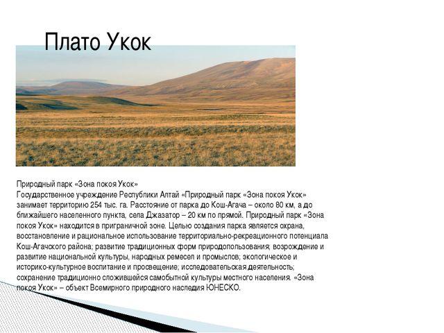 Плато Укок Природный парк «Зона покоя Укок» Государственное учреждение Респуб...