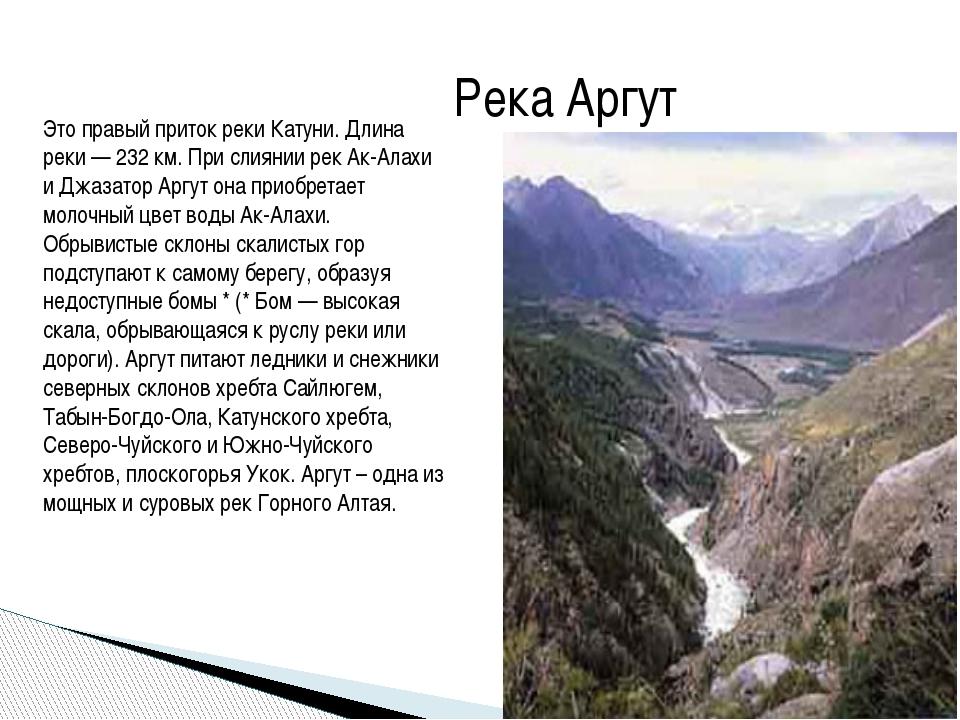 Река Аргут Это правый приток реки Катуни. Длина реки — 232 км. При слиянии ре...