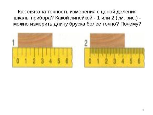 Как связана точность измерения с ценой деления шкалы прибора? Какой линейкой...