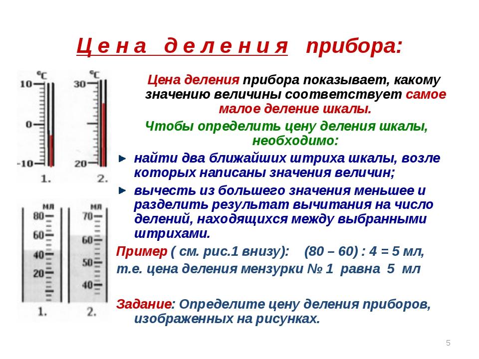 Ц е н а д е л е н и я прибора: Цена деления прибора показывает, какому значен...
