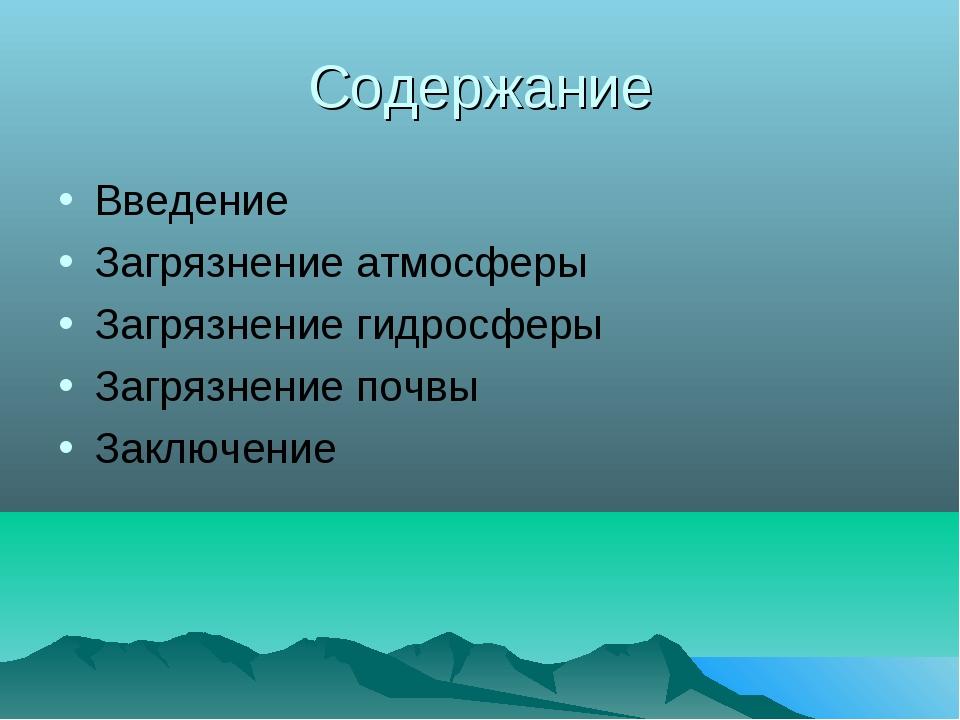 Содержание Введение Загрязнение атмосферы Загрязнение гидросферы Загрязнение...