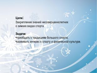 Цели: Закрепление знаний несовершеннолетних о зимних видах спорта Задачи: при