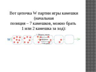 Вот цепочка W партии игры камешки (начальная позиция – 7 камешков, можно брат