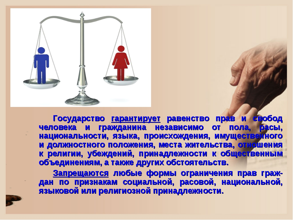 Государство гарантирует равенство прав и свобод человека и гражданина независ...