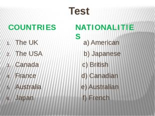 Test The UK a) American The USA b) Japanese Canada c) British France d) Canad