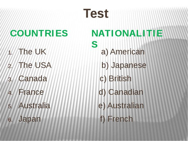 Test The UK a) American The USA b) Japanese Canada c) British France d) Canad...