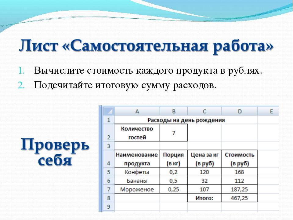 Вычислите стоимость каждого продукта в рублях. Подсчитайте итоговую сумму рас...