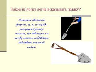 Какой из лопат легче вскапывать грядку? Лопатой овальной формы, т. к. площад