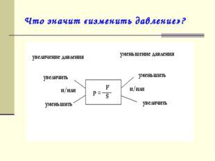 Что значит «изменить давление»?