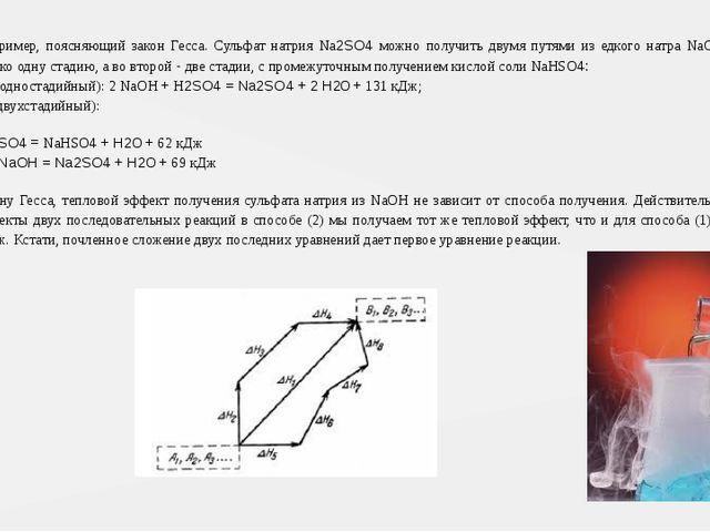 Рассмотрим пример, поясняющий закон Гесса. Сульфат натрия Na2SO4 можно получи...