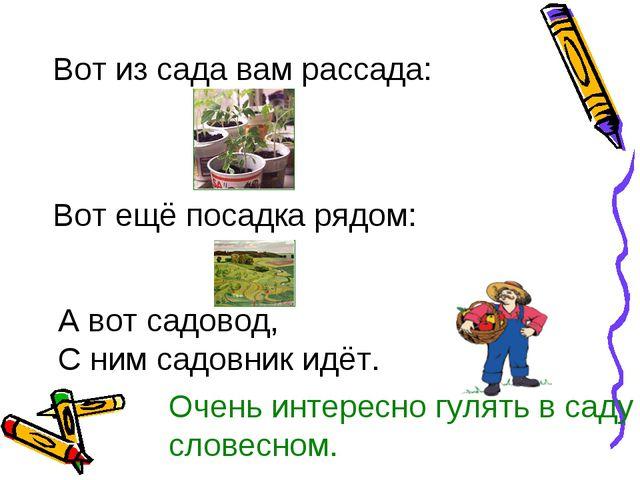 Вот из сада вам рассада: Вот ещё посадка рядом: А вот садовод, С ним садовник...