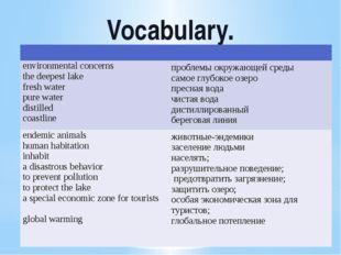 Vocabulary. environmentalconcerns the deepestlake freshwater purewater distil