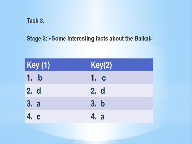Task 3. Stage 3: «Some interesting facts about the Baikal» Key (1) Key(2) b c...