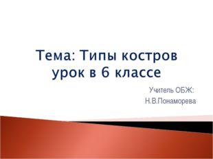 Учитель ОБЖ: Н.В.Понаморева