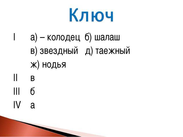 Iа) – колодец б) шалаш в) звездный д) таежный ж) нодья IIв IIIб IVа