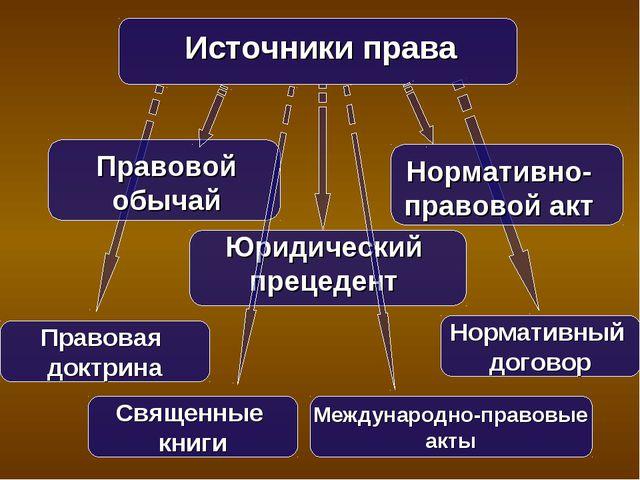 Источники права Правовой обычай Юридический прецедент Нормативно-правовой акт...
