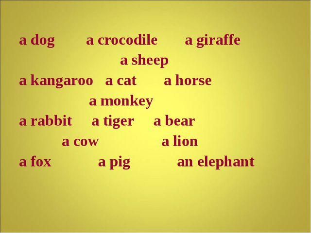 a dog a crocodile a giraffe a sheep a kangaroo a cat a horse a monkey a rabb...