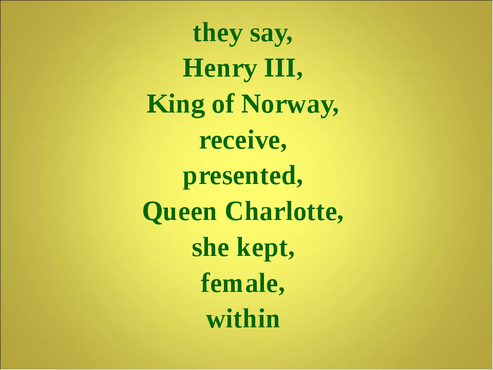they say, Henry III, King of Norway, receive, presented, Queen Charlotte, sh...