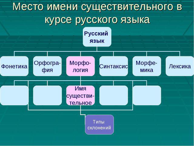 Место имени существительного в курсе русского языка