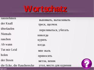 Wortschatz вынимать, вытаскивать треск, щелчок переливаться, убегать никогда