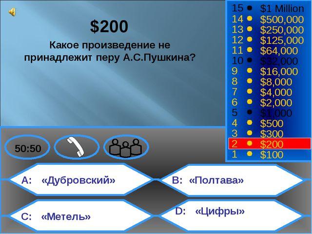 A: «Дубровский» C: «Метель» B: «Полтава» D: «Цифры» 50:50 15 14 13 12 11 10 9...