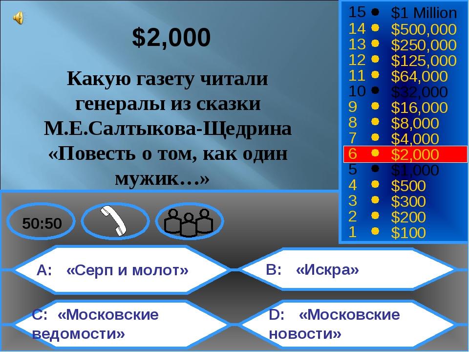 A: «Серп и молот» C: «Московские ведомости» B: «Искра» D: «Московские новости...