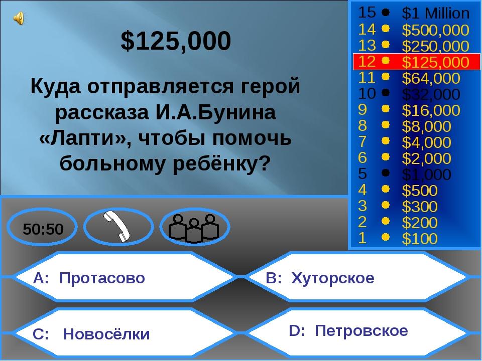 A: Протасово C: Новосёлки B: Хуторское D: Петровское 50:50 15 14 13 12 11 10...