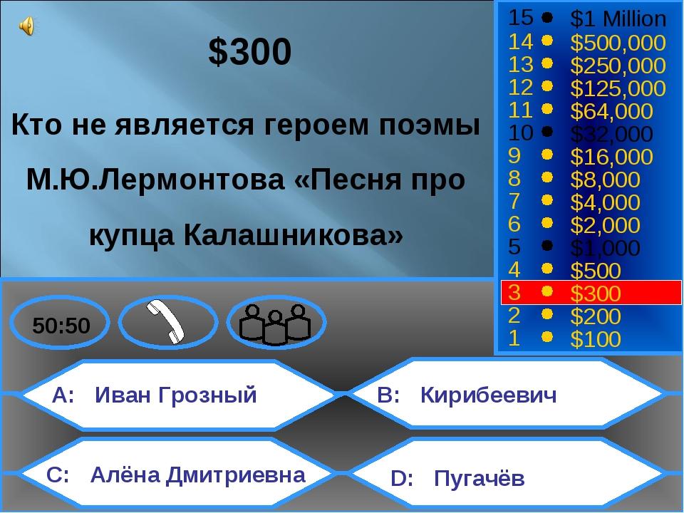 A: Иван Грозный C: Алёна Дмитриевна B: Кирибеевич D: Пугачёв 50:50 15 14 13 1...