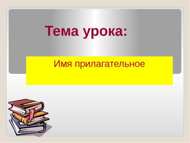 Тема урока: Имя прилагательное