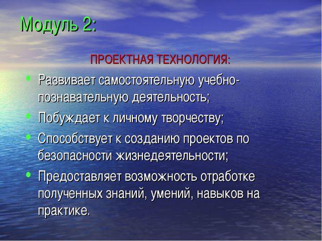 Модуль 2: ПРОЕКТНАЯ ТЕХНОЛОГИЯ: Развивает самостоятельную учебно-познавате...