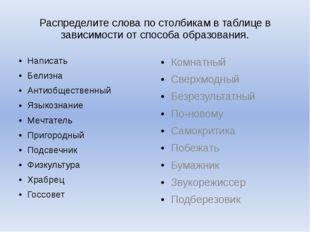 Распределите слова по столбикам в таблице в зависимости от способа образовани