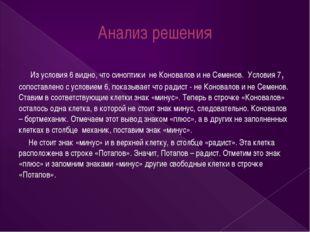 Анализ решения Из условия 6 видно, что синоптики не Коновалов и не Семенов. У