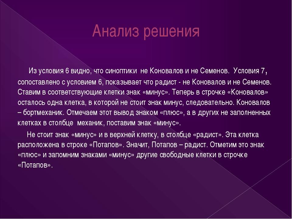 Анализ решения Из условия 6 видно, что синоптики не Коновалов и не Семенов. У...