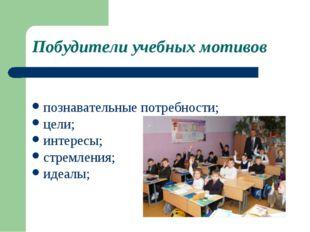 Побудители учебных мотивов познавательные потребности; цели; интересы; стремл