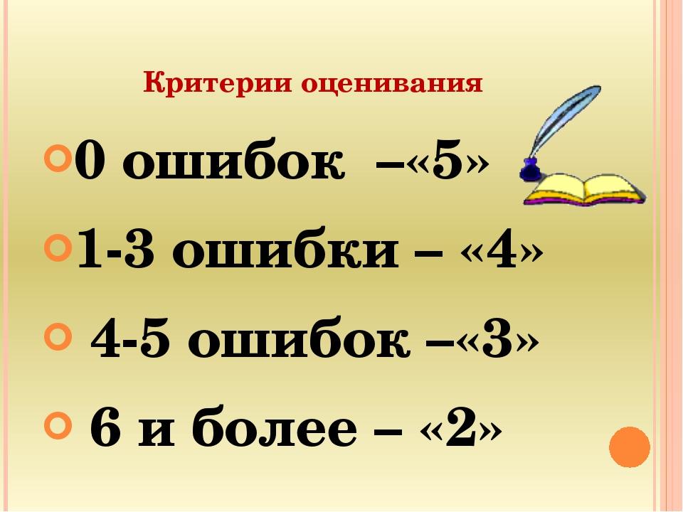 Критерии оценивания 0 ошибок –«5» 1-3 ошибки – «4» 4-5 ошибок –«3» 6 и более...