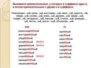 Выпишите прилагательные, у которых в суффиксе одно н, а потом прилагательные