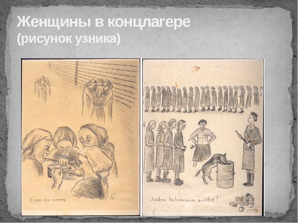Женщины в концлагере (рисунок узника)