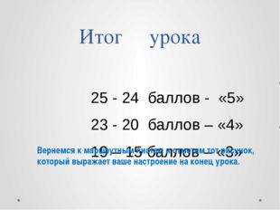 Итог урока 25 - 24 баллов - «5» 23 - 20 баллов – «4» 19 – 15 баллов – «3» Вер