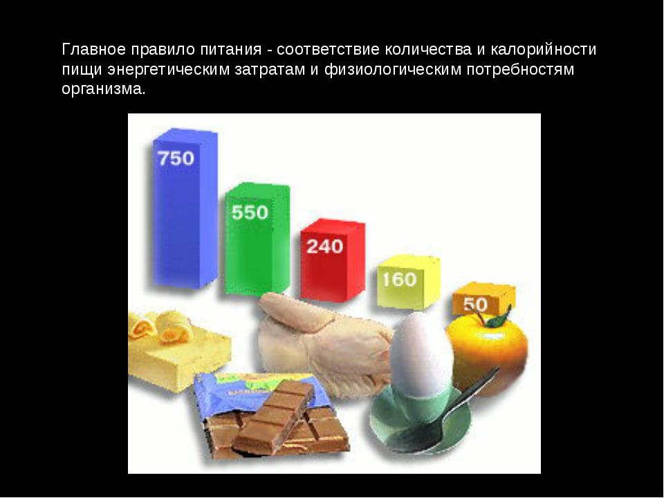 Главное правило питания - соответствие количества и калорийности пищи энергет...