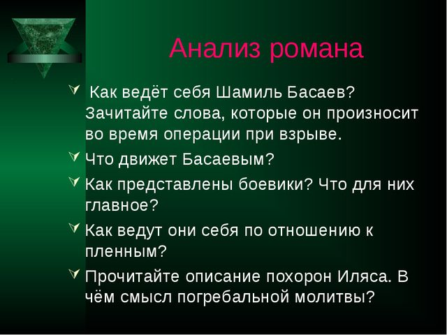Анализ романа Как ведёт себя Шамиль Басаев? Зачитайте слова, которые он прои...