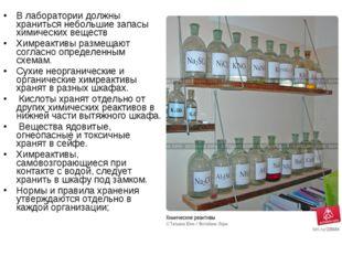 В лаборатории должны храниться небольшие запасы химических веществ Химреактив