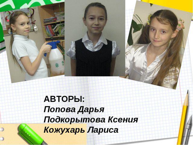 АВТОРЫ: Попова Дарья Подкорытова Ксения Кожухарь Лариса