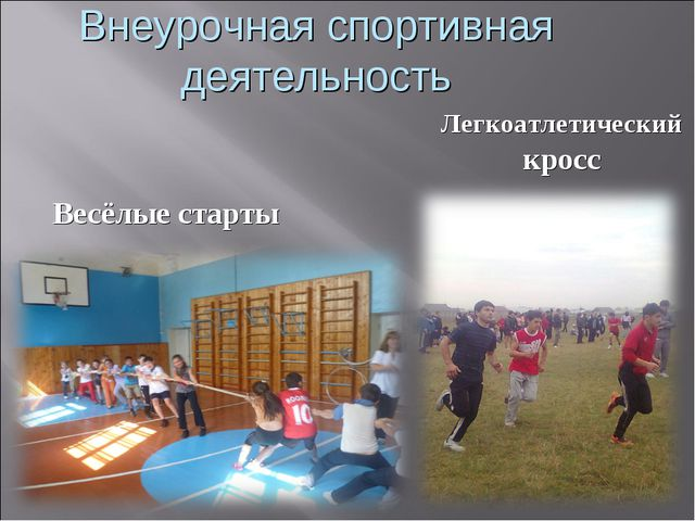Внеурочная спортивная деятельность Весёлые старты Легкоатлетический кросс