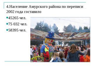 4.Население Амурского района по переписи 2002 года составило 45265 чел. 75 03