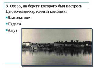 8. Озеро, на берегу которого был построен Целлюлозно-картонный комбинат Благо