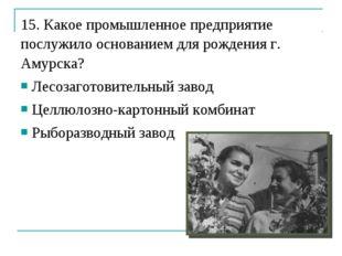 15. Какое промышленное предприятие послужило основанием для рождения г. Амурс