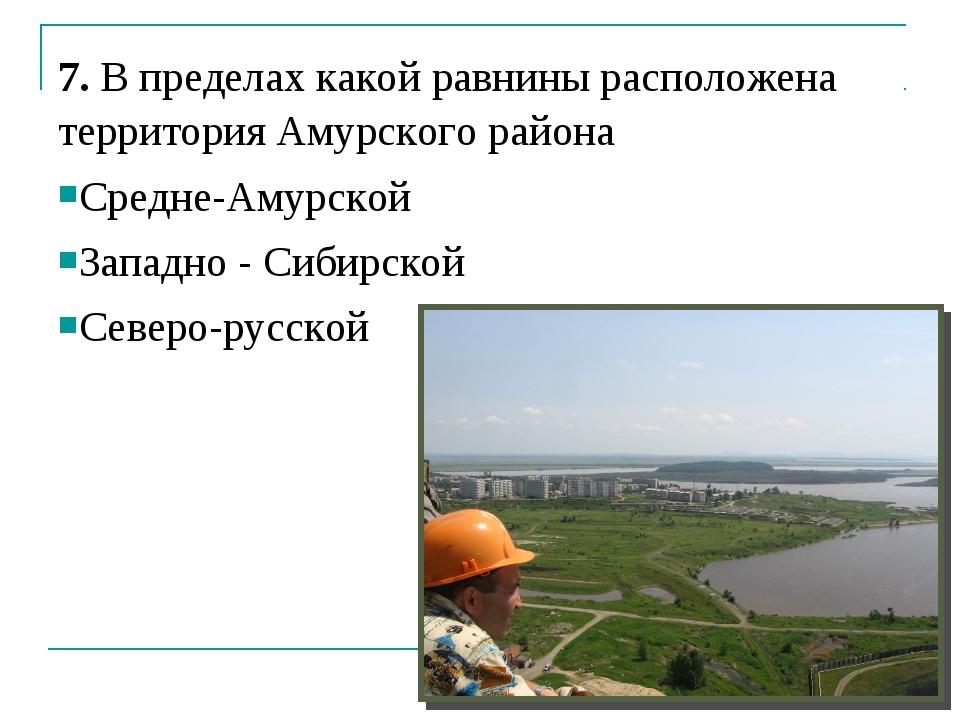 7. В пределах какой равнины расположена территория Амурского района Средне-Ам...