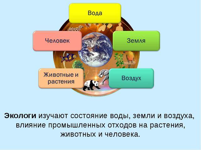 Экологи изучают состояние воды, земли и воздуха, влияние промышленных отходов...